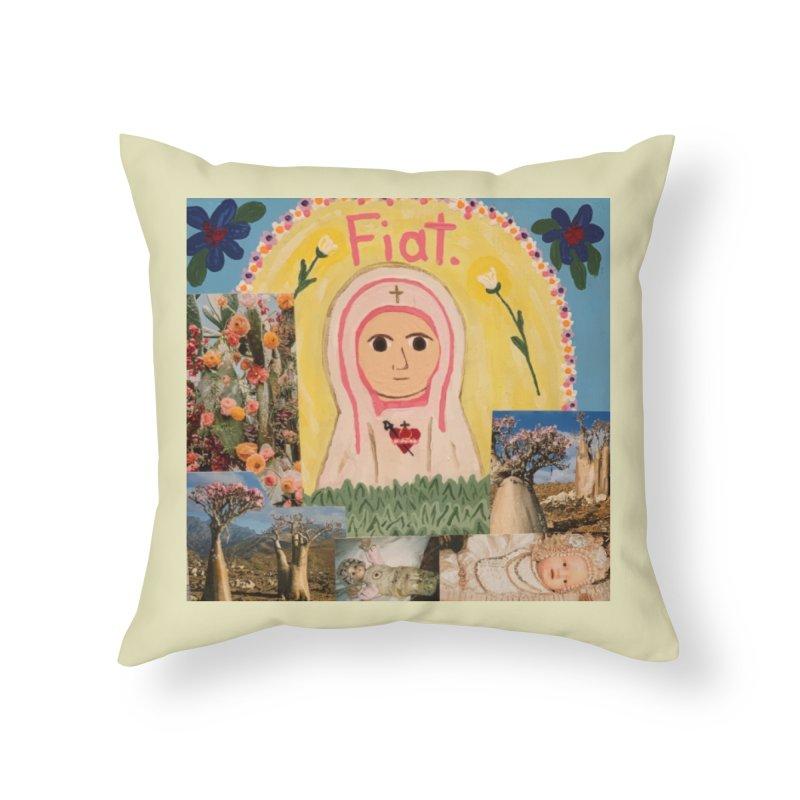 Maria Bambina -the Infant Mary Home Throw Pillow by Mary Kloska Fiat's Artist Shop