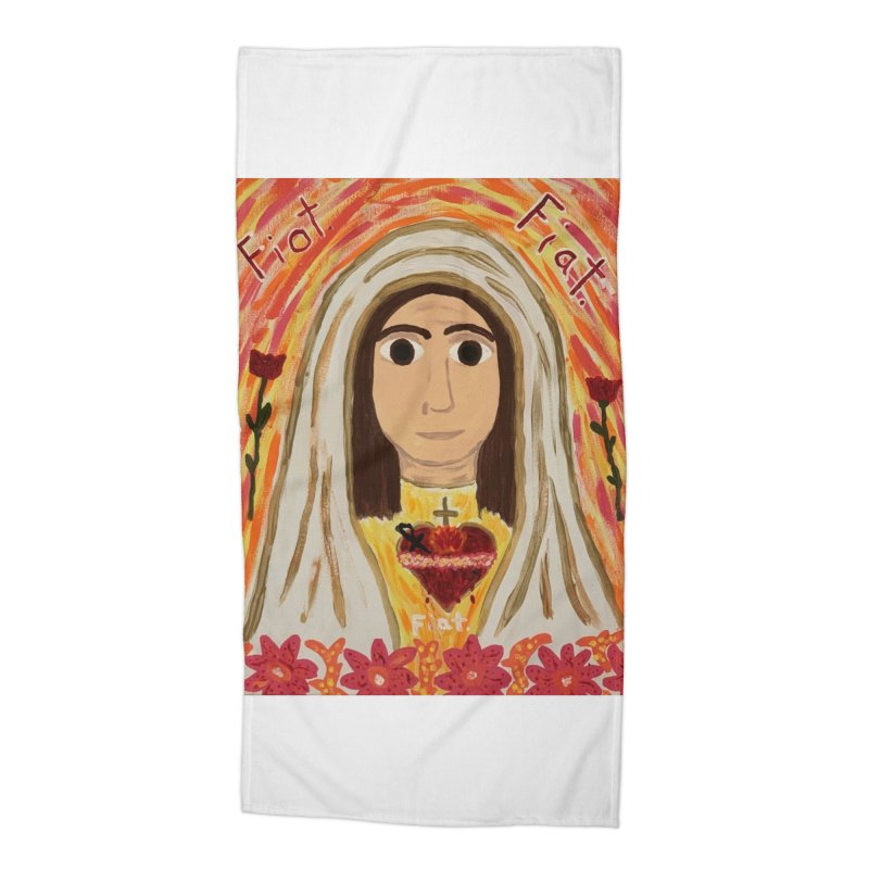 Immaculate Heart of Mary Accessories Beach Towel by Mary Kloska Fiat's Artist Shop