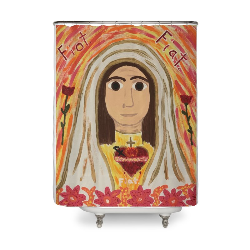 Immaculate Heart of Mary Home Shower Curtain by Mary Kloska Fiat's Artist Shop