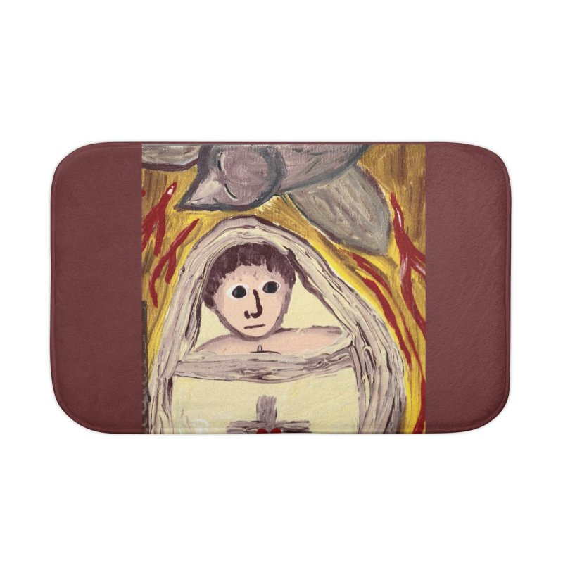 Baby Jesus and the Holy Spirit -Our Eucharistic Child Home Bath Mat by Mary Kloska Fiat's Artist Shop