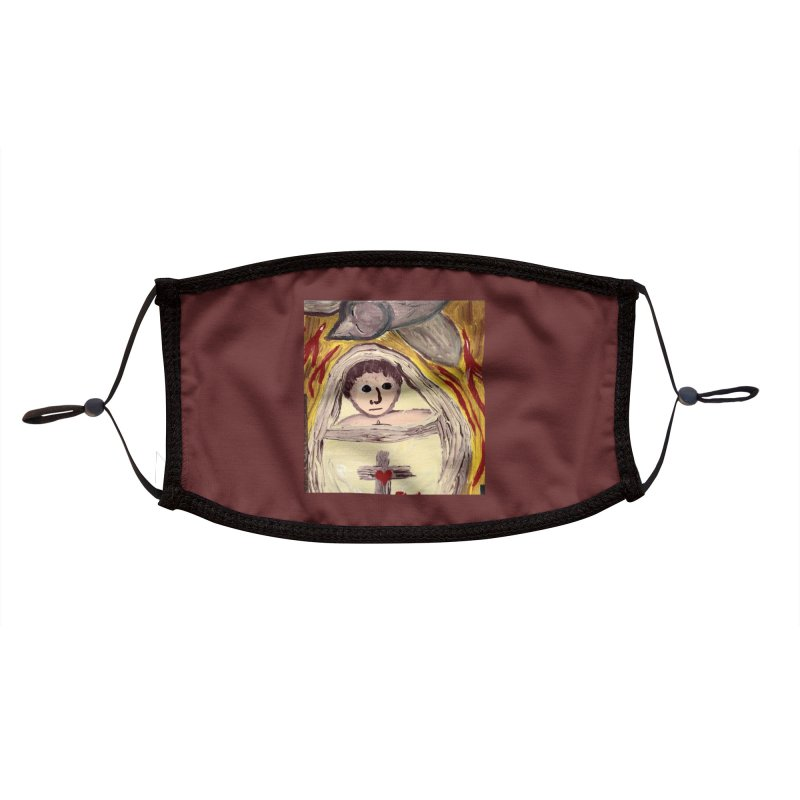 Baby Jesus and the Holy Spirit -Our Eucharistic Child Accessories Face Mask by Mary Kloska Fiat's Artist Shop