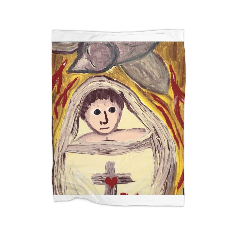 Baby Jesus and the Holy Spirit -Our Eucharistic Child Home Blanket by Mary Kloska Fiat's Artist Shop