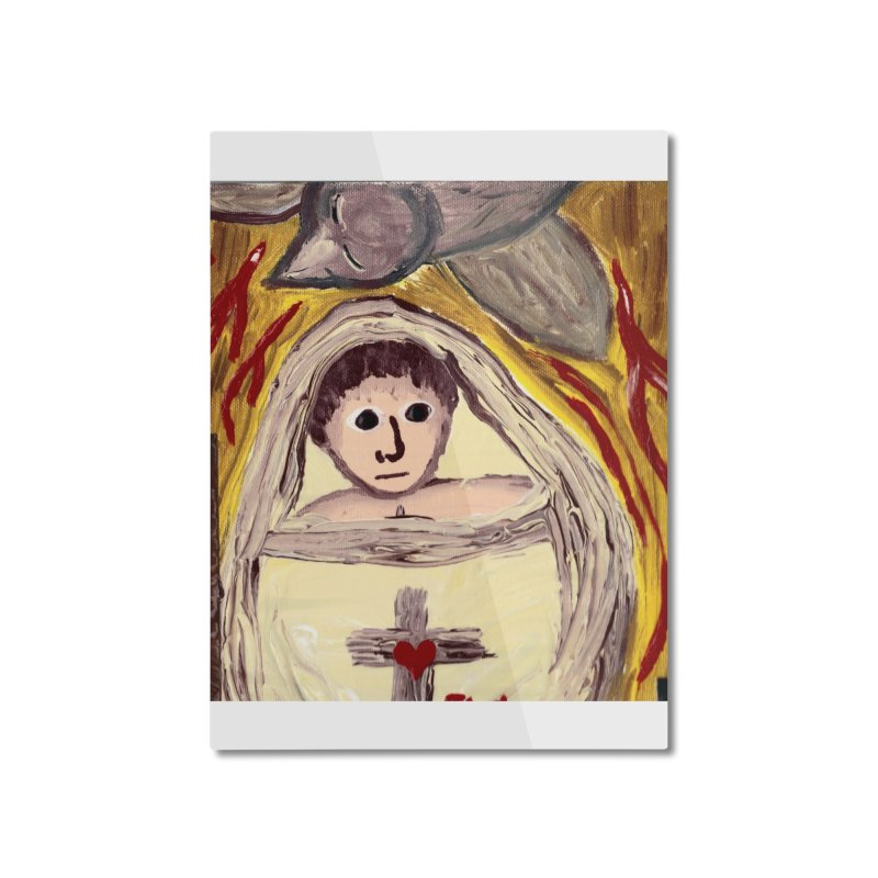 Baby Jesus and the Holy Spirit -Our Eucharistic Child Home Mounted Aluminum Print by Mary Kloska Fiat's Artist Shop