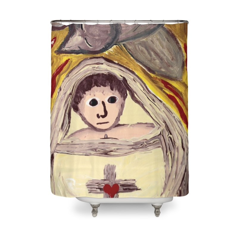Baby Jesus and the Holy Spirit -Our Eucharistic Child Home Shower Curtain by Mary Kloska Fiat's Artist Shop