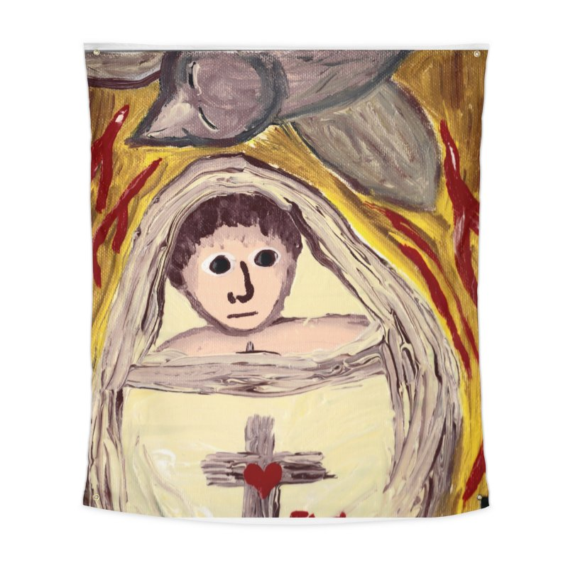 Baby Jesus and the Holy Spirit -Our Eucharistic Child Home Tapestry by Mary Kloska Fiat's Artist Shop