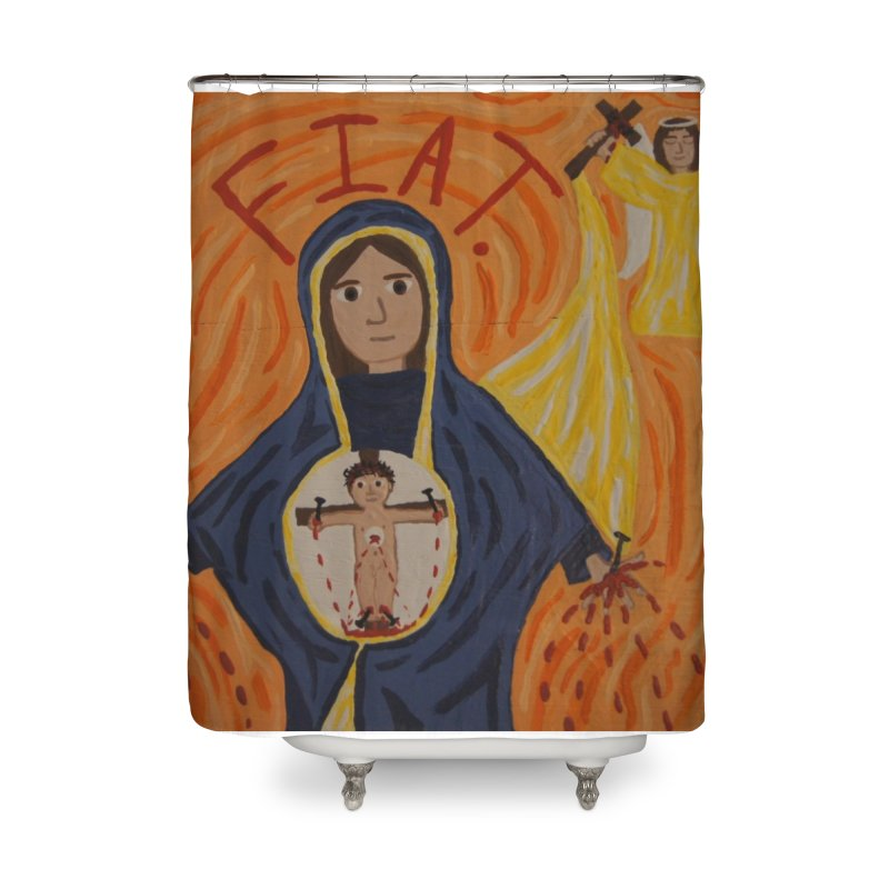 Annunciation Home Shower Curtain by Mary Kloska Fiat's Artist Shop