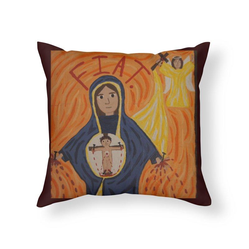 Annunciation Home Throw Pillow by Mary Kloska Fiat's Artist Shop