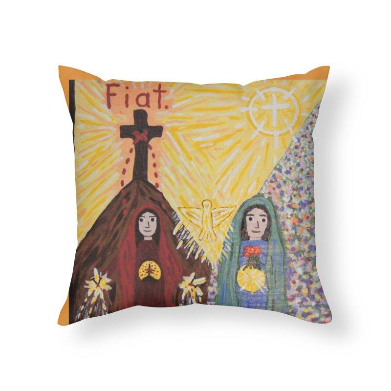 Visitation Home Throw Pillow by Mary Kloska Fiat's Artist Shop