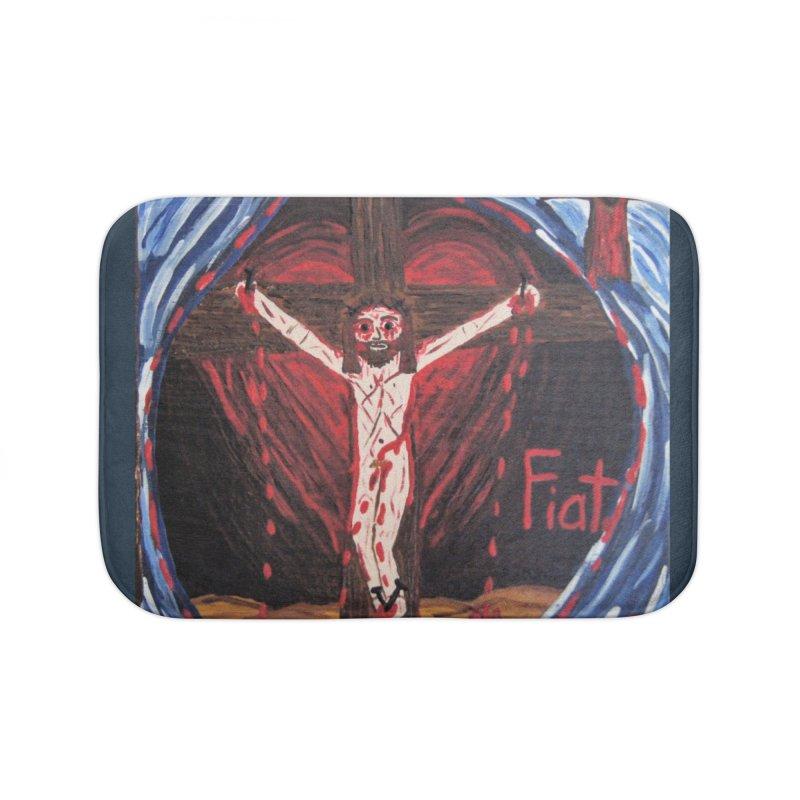 Crucifixion Home Bath Mat by Mary Kloska Fiat's Artist Shop