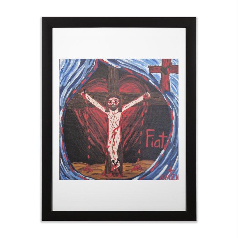 Crucifixion Home Framed Fine Art Print by Mary Kloska Fiat's Artist Shop
