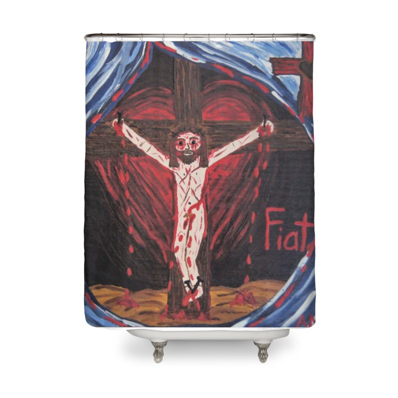 Crucifixion Home Shower Curtain by Mary Kloska Fiat's Artist Shop