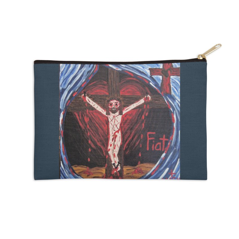 Crucifixion Accessories Zip Pouch by Mary Kloska Fiat's Artist Shop