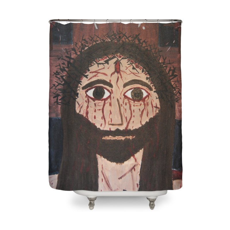 Holy Face Home Shower Curtain by Mary Kloska Fiat's Artist Shop