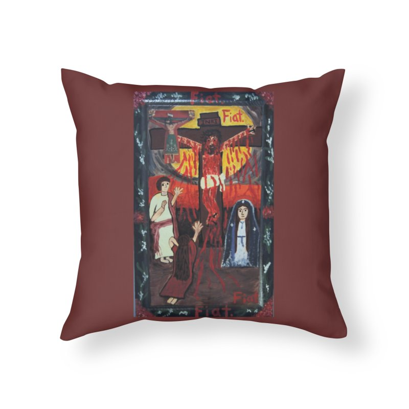 Golgatha Home Throw Pillow by Mary Kloska Fiat's Artist Shop