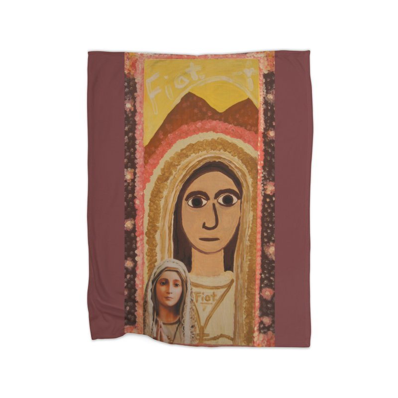Our Lady of Fatima -Morning Glory Home Blanket by Mary Kloska Fiat's Artist Shop