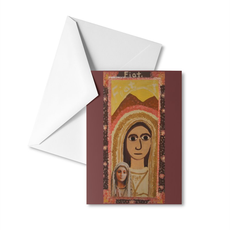 Our Lady of Fatima -Morning Glory Accessories Greeting Card by Mary Kloska Fiat's Artist Shop
