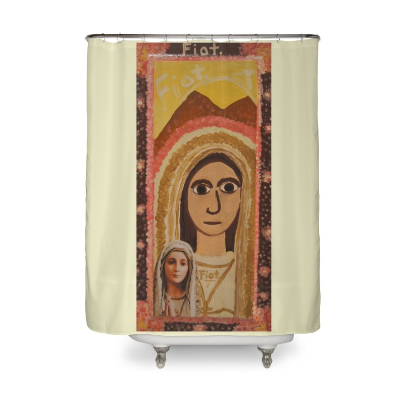 Our Lady of Fatima -Morning Glory Home Shower Curtain by Mary Kloska Fiat's Artist Shop