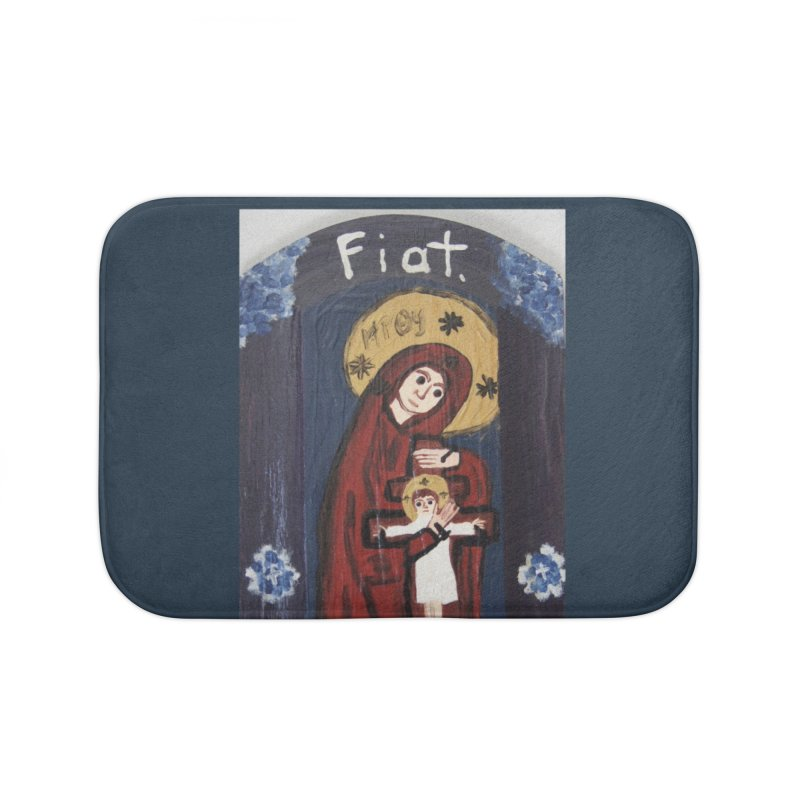 Mother of The Crucified Child Home Bath Mat by Mary Kloska Fiat's Artist Shop