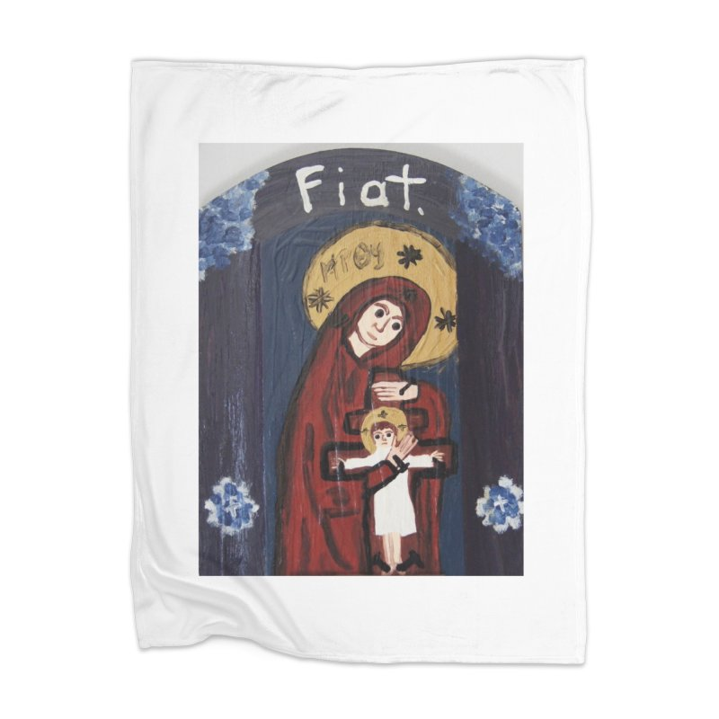 Mother of The Crucified Child Home Blanket by Mary Kloska Fiat's Artist Shop