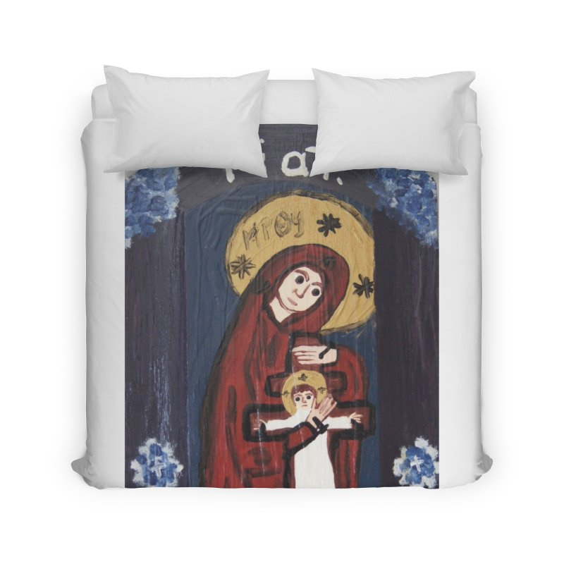 Mother of The Crucified Child Home Duvet by Mary Kloska Fiat's Artist Shop
