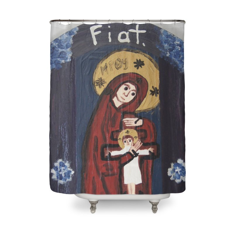 Mother of The Crucified Child Home Shower Curtain by Mary Kloska Fiat's Artist Shop