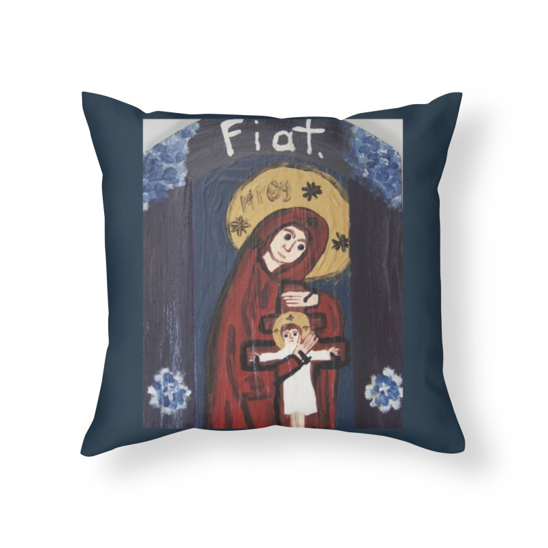 Mother of The Crucified Child Home Throw Pillow by Mary Kloska Fiat's Artist Shop