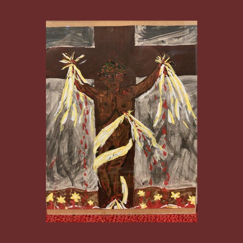 African Jesus Crucified -for John Martin Kloska Home Bath Mat by Mary Kloska Fiat's Artist Shop
