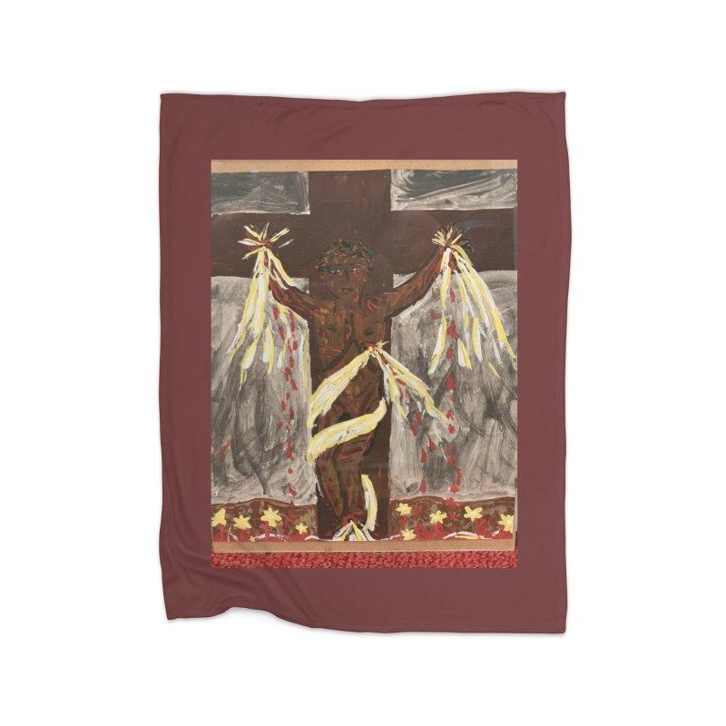 African Jesus Crucified -for John Martin Kloska Home Blanket by Mary Kloska Fiat's Artist Shop