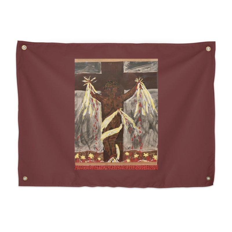 African Jesus Crucified -for John Martin Kloska Home Tapestry by Mary Kloska Fiat's Artist Shop