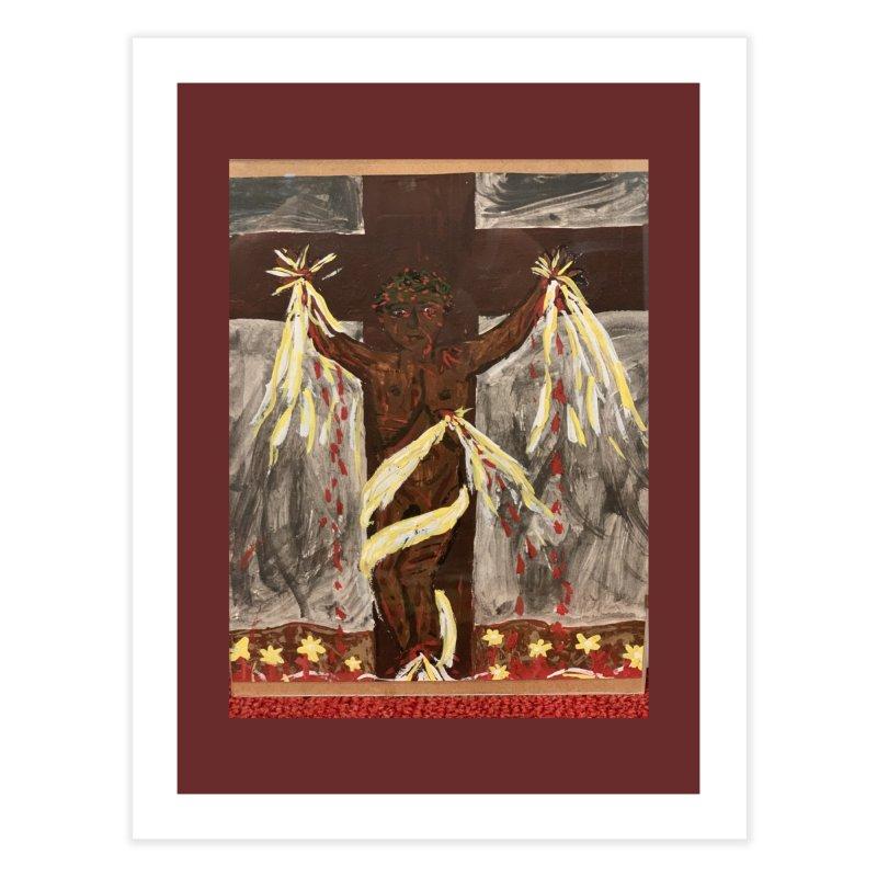 African Jesus Crucified -for John Martin Kloska Home Fine Art Print by Mary Kloska Fiat's Artist Shop