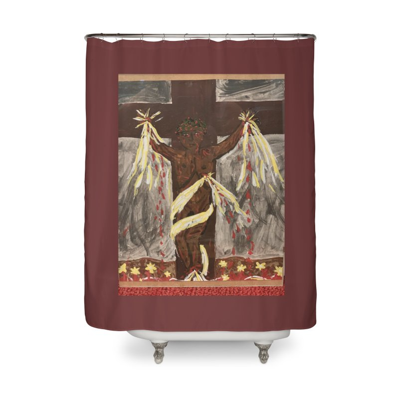African Jesus Crucified -for John Martin Kloska Home Shower Curtain by Mary Kloska Fiat's Artist Shop