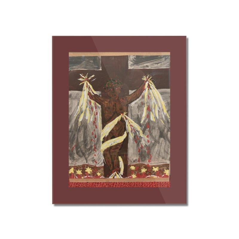 African Jesus Crucified -for John Martin Kloska Home Mounted Acrylic Print by Mary Kloska Fiat's Artist Shop