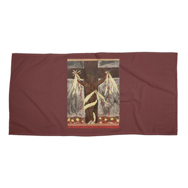 African Jesus Crucified -for John Martin Kloska Accessories Beach Towel by Mary Kloska Fiat's Artist Shop
