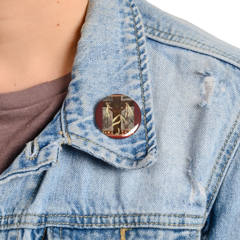 African Jesus Crucified -for John Martin Kloska Accessories Button by Mary Kloska Fiat's Artist Shop