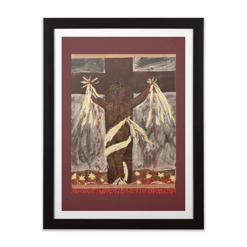 African Jesus Crucified -for John Martin Kloska Home Framed Fine Art Print by Mary Kloska Fiat's Artist Shop