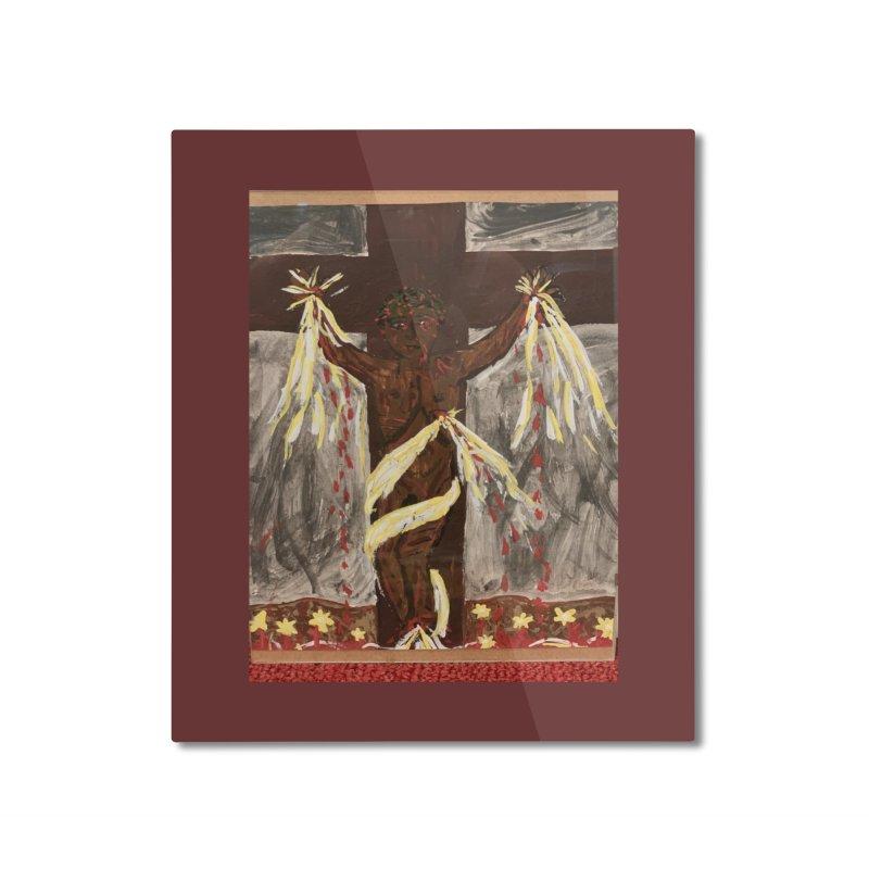 African Jesus Crucified -for John Martin Kloska Home Mounted Aluminum Print by Mary Kloska Fiat's Artist Shop