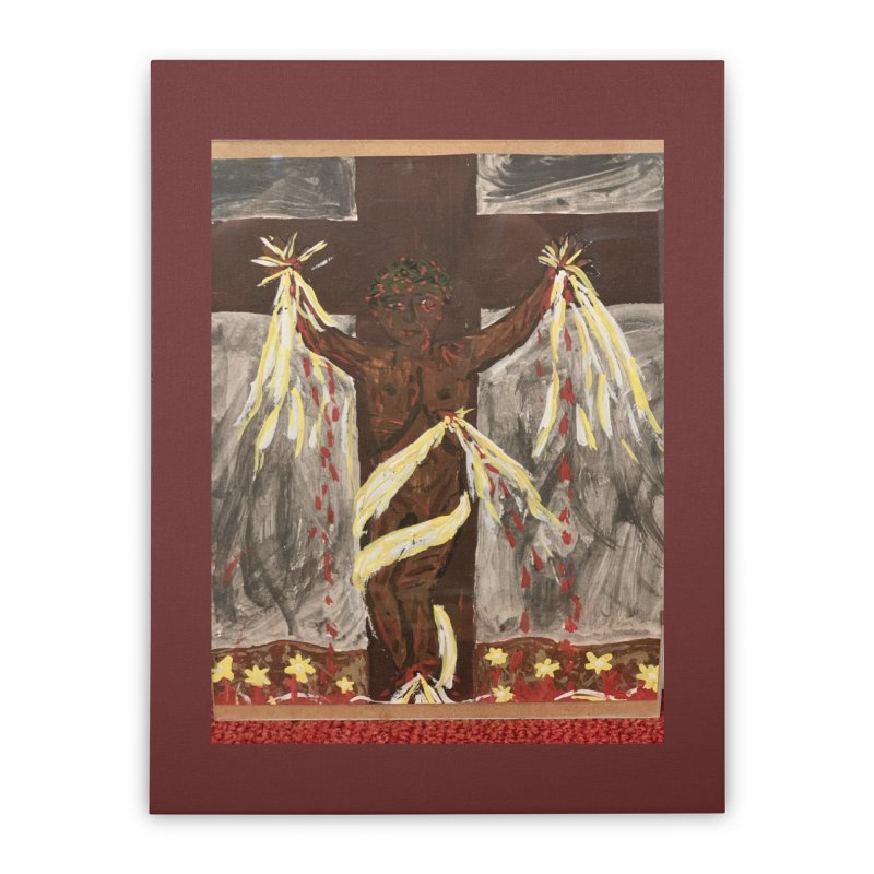 African Jesus Crucified -for John Martin Kloska Home Stretched Canvas by Mary Kloska Fiat's Artist Shop
