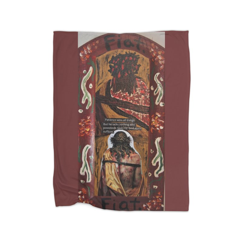 Jesus Crucified -God Alone Suffices Home Blanket by Mary Kloska Fiat's Artist Shop