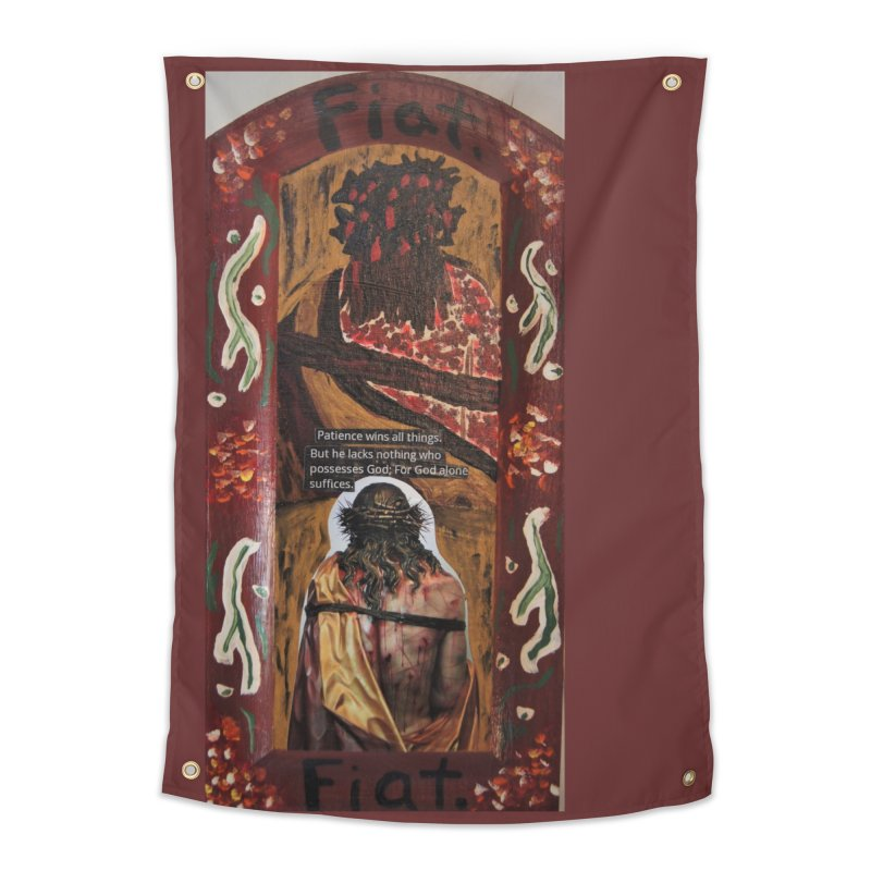 Jesus Crucified -God Alone Suffices Home Tapestry by Mary Kloska Fiat's Artist Shop