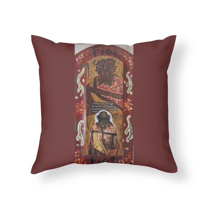 Jesus Crucified -God Alone Suffices Home Throw Pillow by Mary Kloska Fiat's Artist Shop