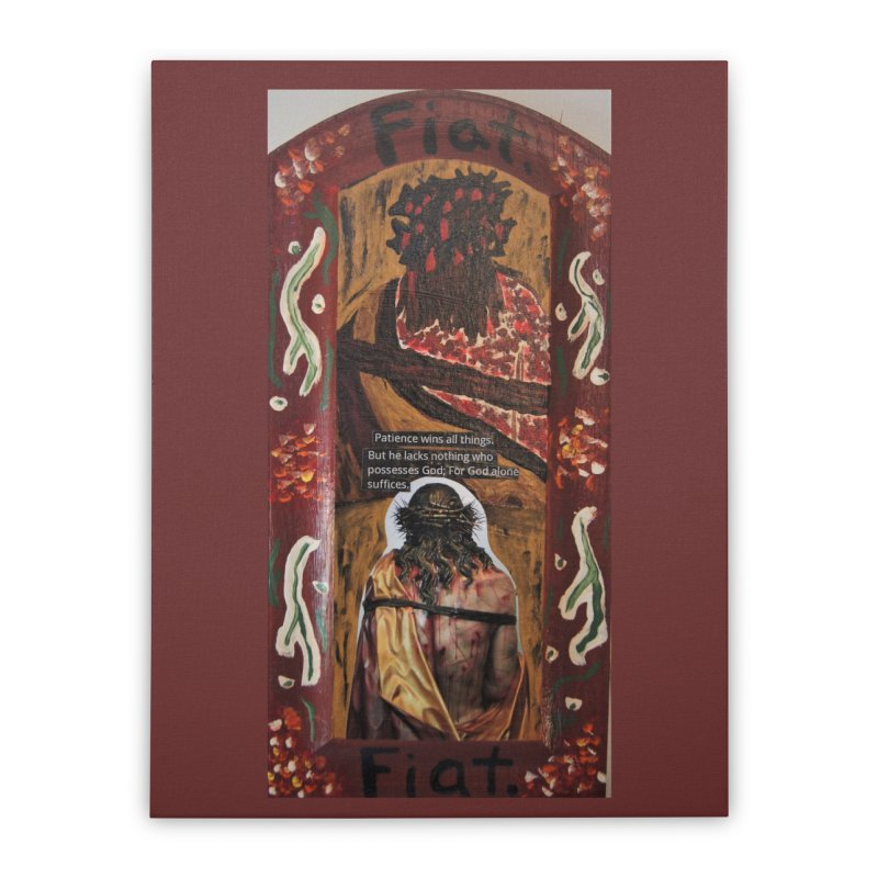 Jesus Crucified -God Alone Suffices Home Stretched Canvas by Mary Kloska Fiat's Artist Shop