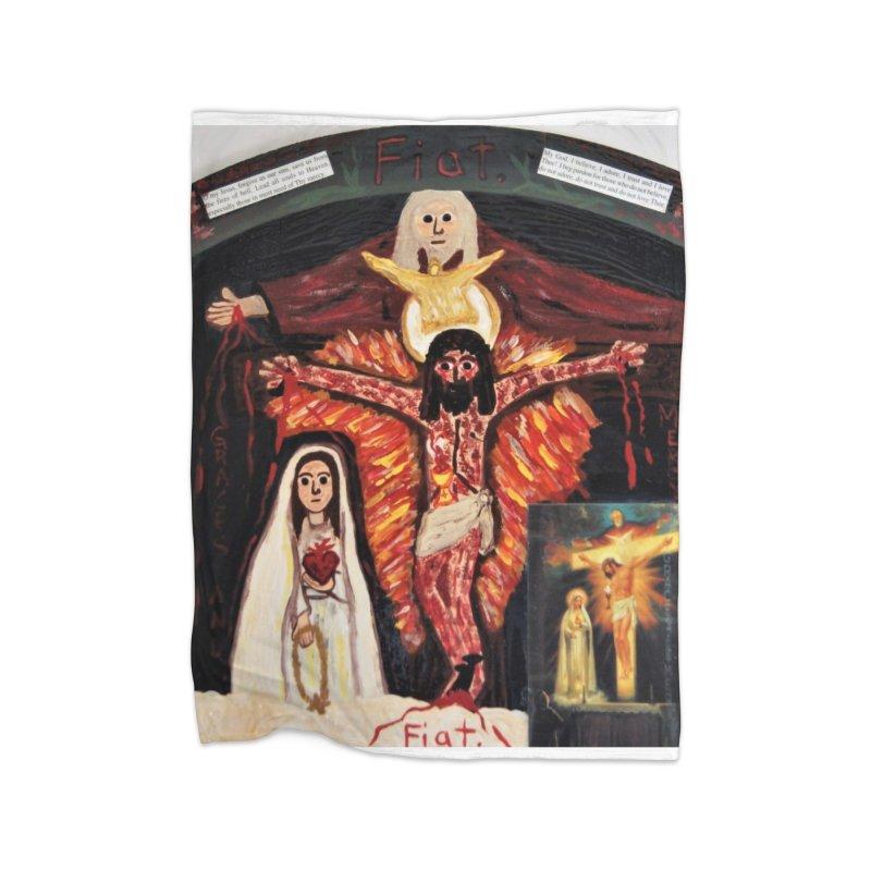 Most Holy Trinity Cross -Fatima Vision Home Blanket by Mary Kloska Fiat's Artist Shop