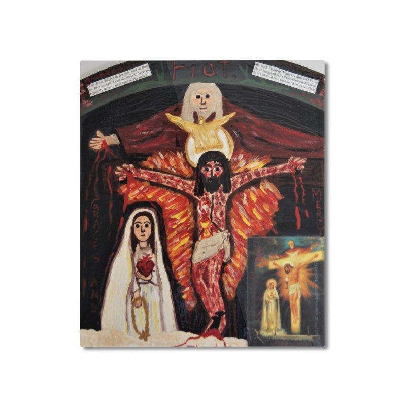 Most Holy Trinity Cross -Fatima Vision Home Mounted Aluminum Print by Mary Kloska Fiat's Artist Shop