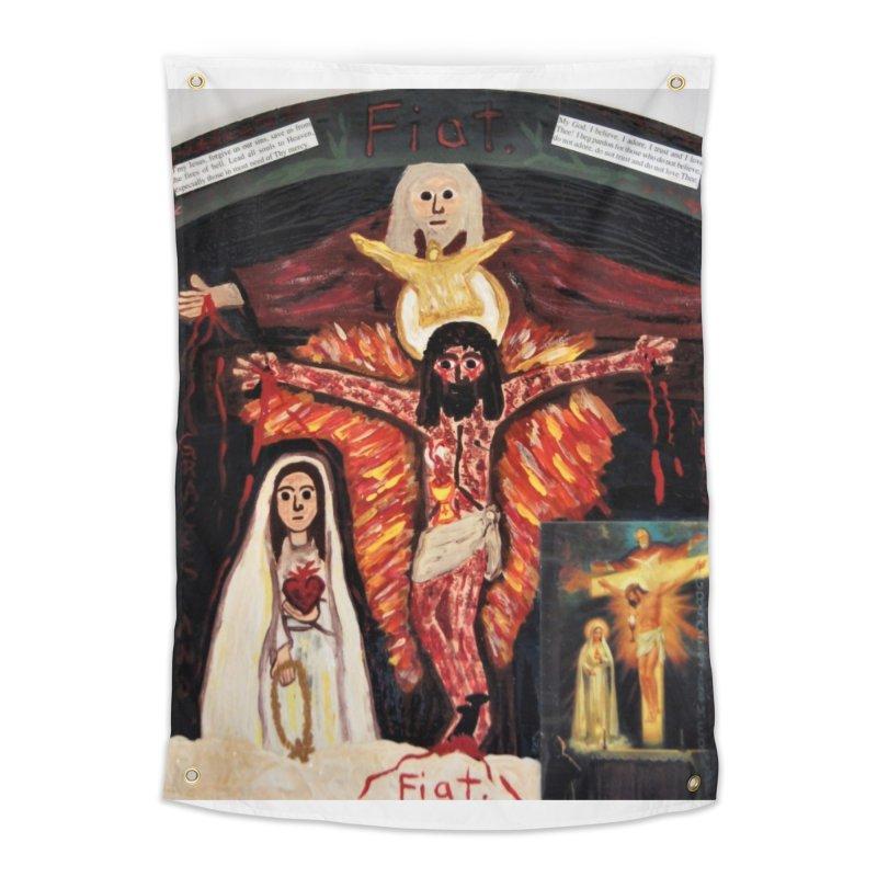Most Holy Trinity Cross -Fatima Vision Home Tapestry by Mary Kloska Fiat's Artist Shop