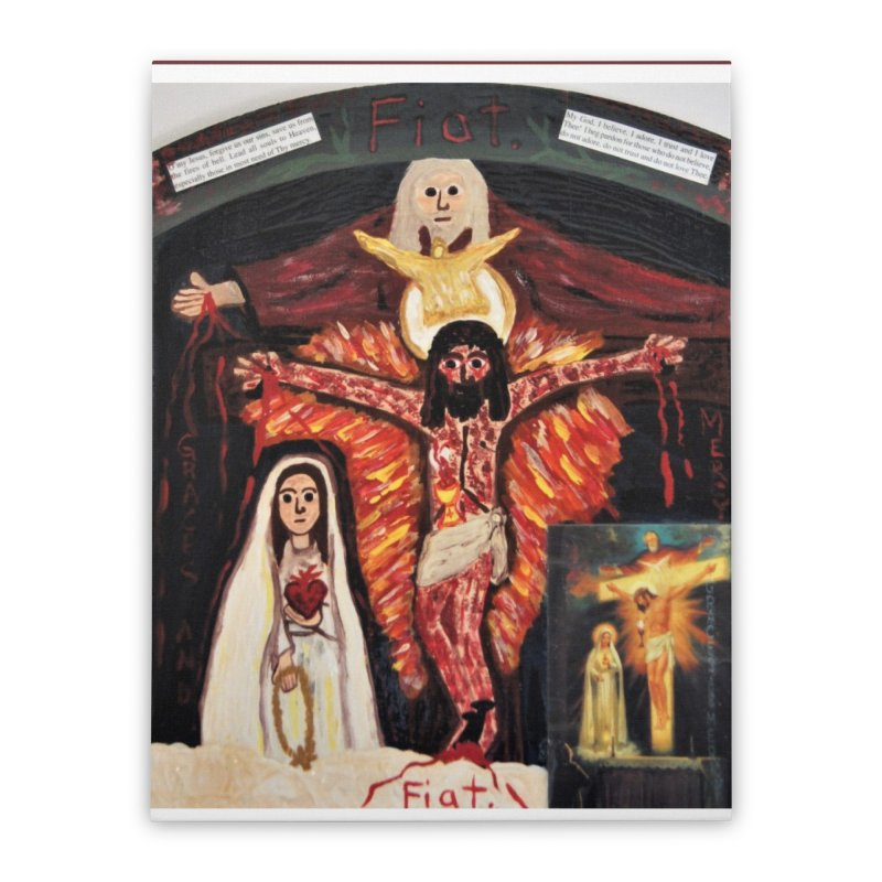 Most Holy Trinity Cross -Fatima Vision Home Stretched Canvas by Mary Kloska Fiat's Artist Shop
