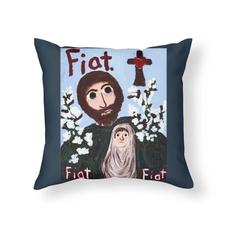 St. Joseph Home Throw Pillow by Mary Kloska Fiat's Artist Shop