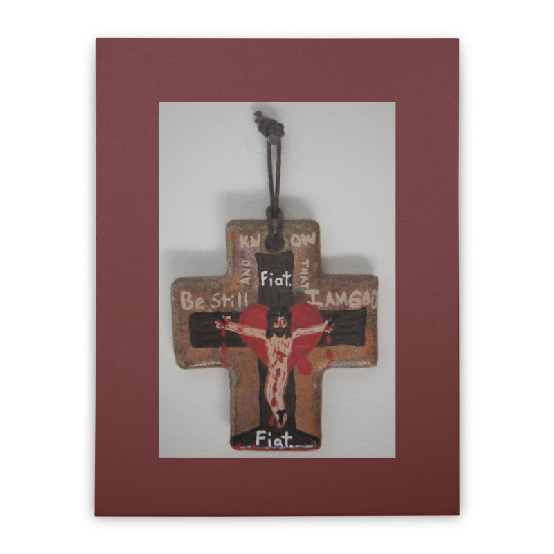 Be Still and Know that I am God Cross Home Stretched Canvas by Mary Kloska Fiat's Artist Shop