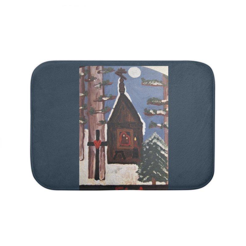 Russian Chapel in a Snowy Wood Home Bath Mat by Mary Kloska Fiat's Artist Shop