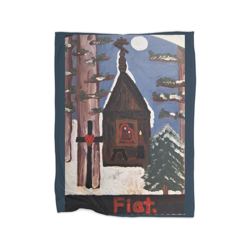 Russian Chapel in a Snowy Wood Home Blanket by Mary Kloska Fiat's Artist Shop