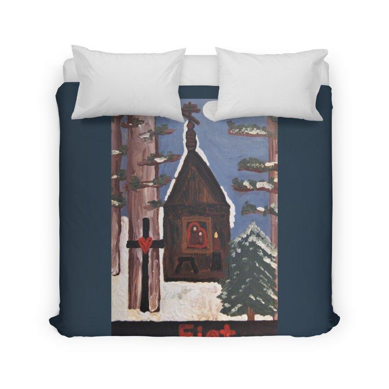 Russian Chapel in a Snowy Wood Home Duvet by Mary Kloska Fiat's Artist Shop